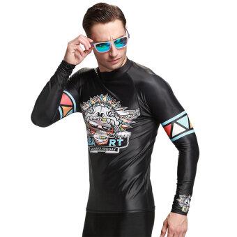 Long-Sleeve Wetsuit Sunscreen Men's Rashguards Surf Shirt Diving Snorkeling Swim TopsBlack