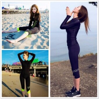 Long sleeved sunscreen swimsuit show thin conservative pants sportswear diving suits split-Black+white - intl