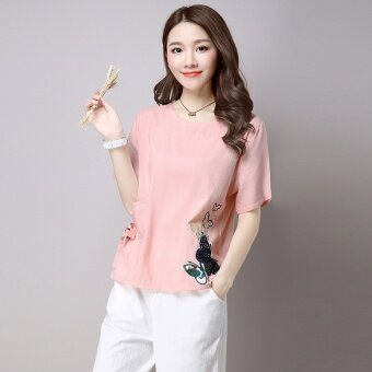 LOOESN บ้านเกาหลีผ้าฝ้ายหญิงหลาใหญ่เสื้อเสื้อยืด (สีชมพู)