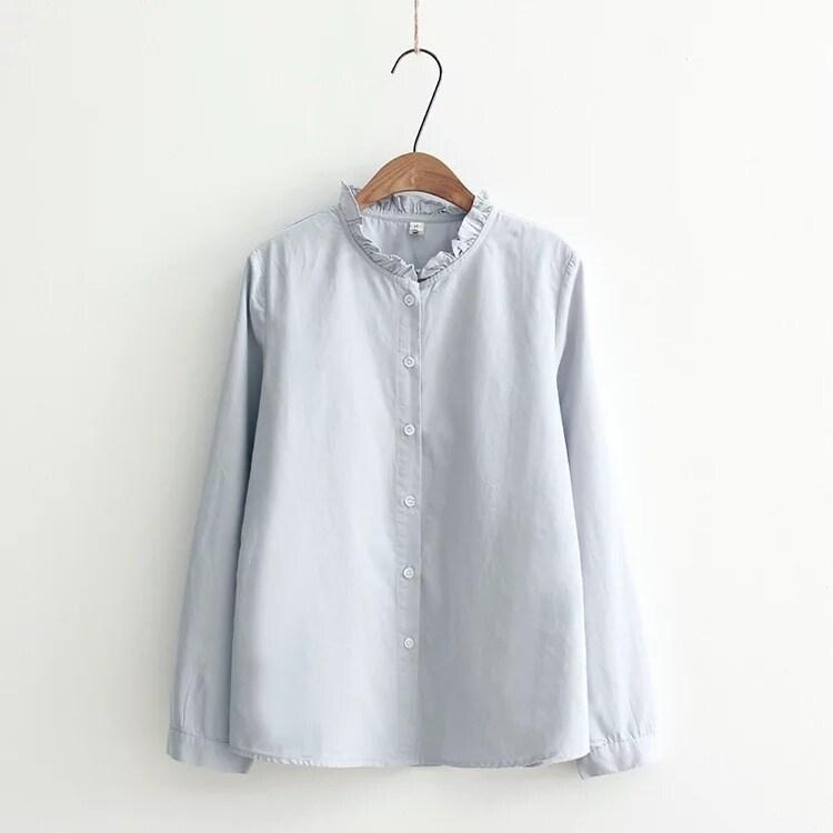 LOOESN วรรณกรรมใหม่สีทึบเสื้อเชิ้ต (แสงสีฟ้า)