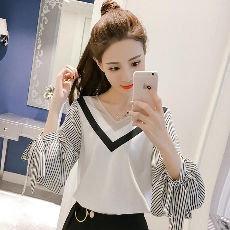 LOOESN บ้านเกาหลีผ้าฝ้ายใหม่คอวีเย็บเสื้อชีฟองเสื้อ (สีรูปภาพ)