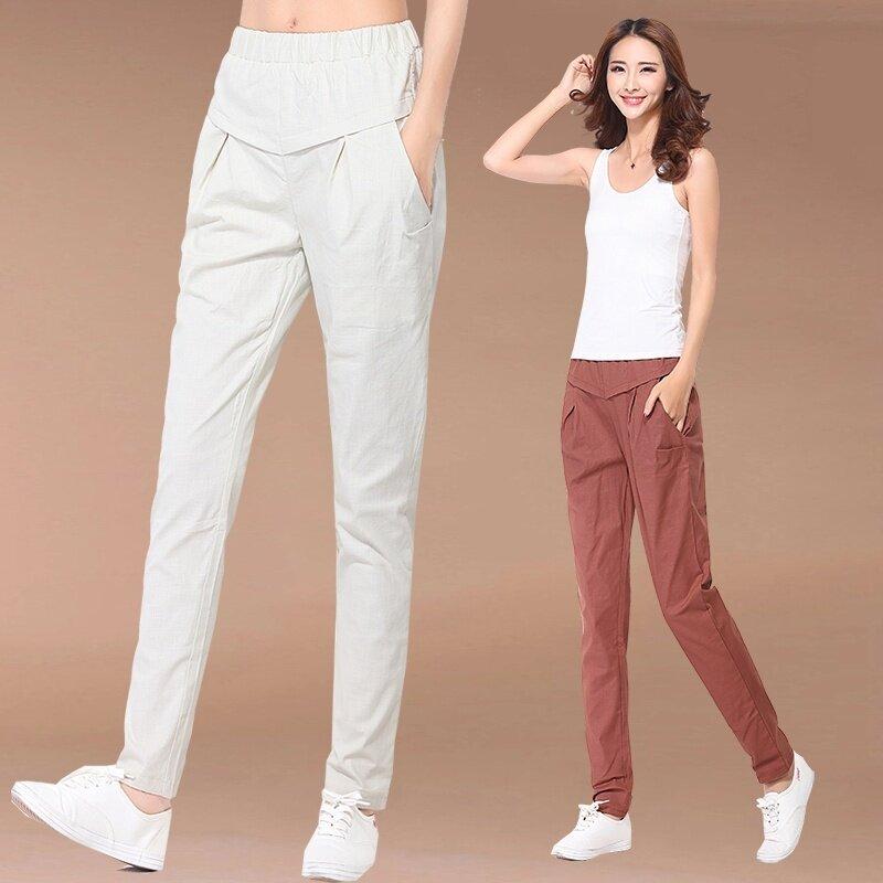 LOOESN ลำลองผ้าลินินตรงยืดหยุ่นฮาเร็มกางเกงกางเกงขายาว (สีแดงสนิม)