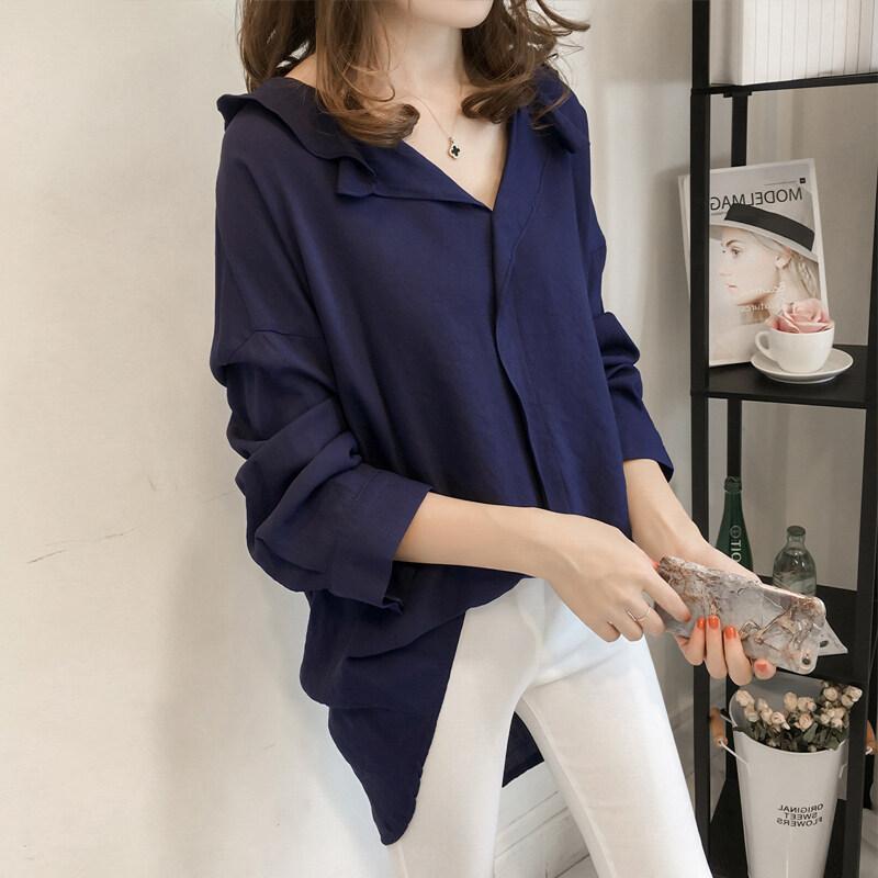 LOOESN เกาหลีสีทึบหญิงใหม่แขนยาวเสื้อเชิ้ตเสื้อ (สีฟ้า)