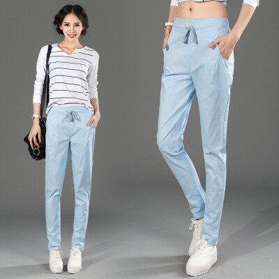 LOOESN วรรณกรรมฝ้ายส่วนบางกางเกงหลาใหญ่ผู้หญิงกางเกง (ท้องฟ้าสีฟ้า 1625 รุ่น)