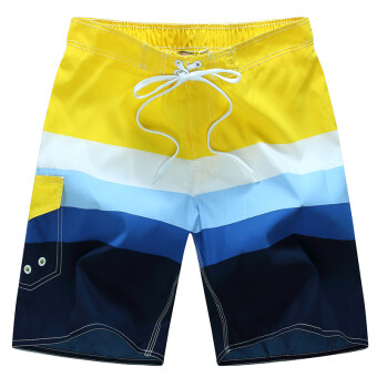 ชุดกางเกงว่ายน้ำชาย กางเกงชายหาด แห้งเร็ว (สีเหลือง)