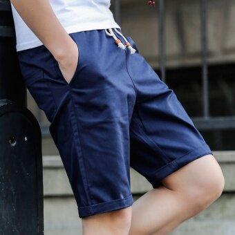LOOESN ลำลองผ้าฝ้ายออกกำลังกาย 7 คะแนนกางเกงกางเกงขาสั้นในช่วงฤดูร้อน (1116 สีน้ำเงินเข้ม)