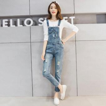 กางเกงเกาหลี overalls ยีนส์ฤดูใบไม้ผลิหลวม (แสงสีฟ้า)