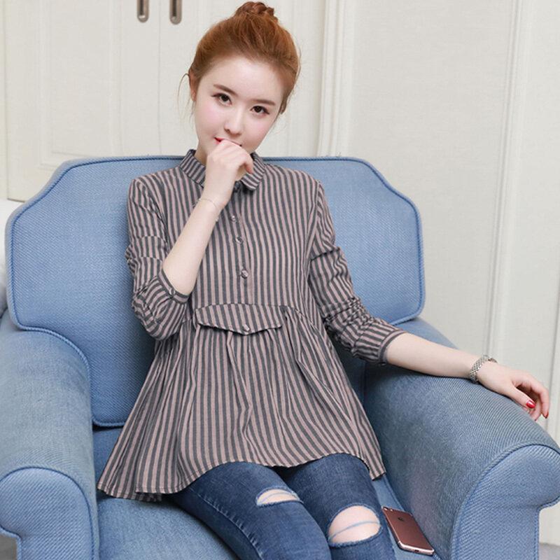 LOOESN เกาหลีหญิงแขนยาว A-ประเภทเสื้อลายเสื้อ (สีฟ้า)