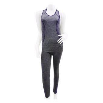 ประเทศไทย Louis Cj ชุด Fitness เสื้อกล้าม ZF-004 เทา/ม่วง (Free size) New!