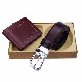 Louis Montini Gift Set Wallet and Beltกิ๊ฟเซ็ทกระเป๋าธนบัตรเข็มขัด เครื่องประดับผู้ชาย