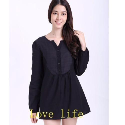 ขาย Love life เสื้อเชิ้ดคอกรมตัวยาว C001(สีดำ)
