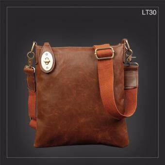 อยากขาย LT30 กระเป๋าสะพายข้าง หนัง Crazy Horse PU สีน้ำตาลกาแฟ กระเป๋าผู้ชาย