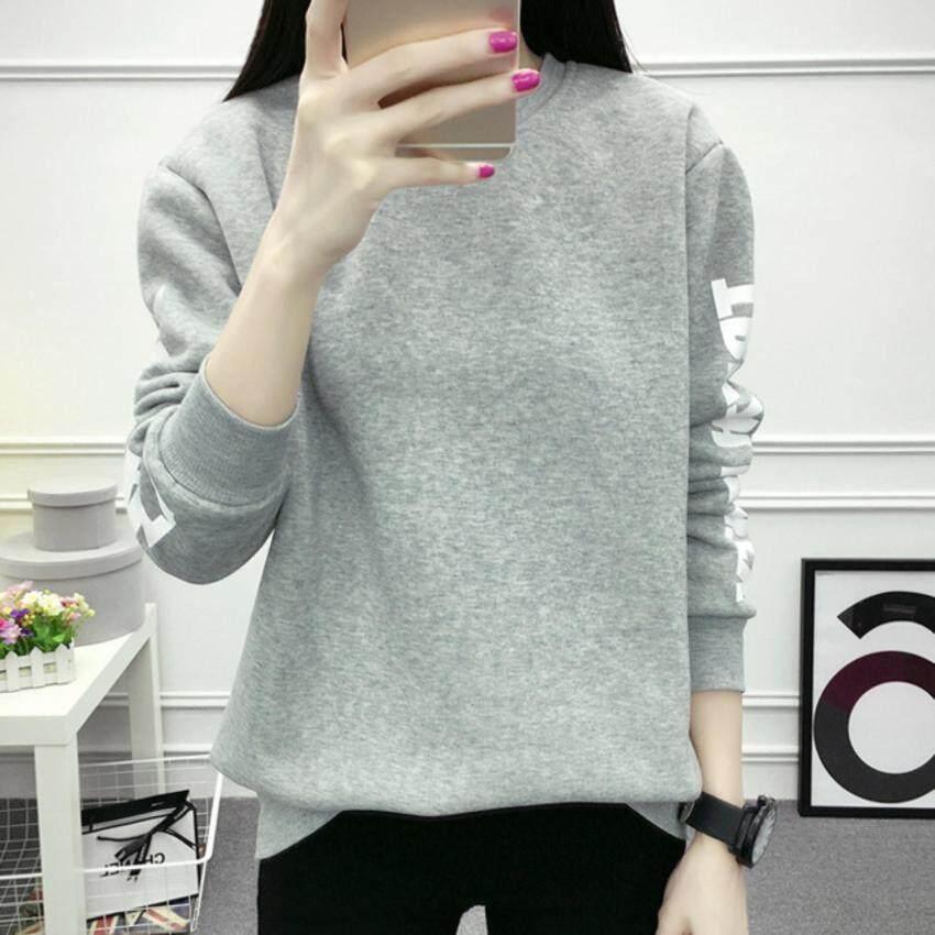 M fashion เสื้อคลุมสวมหัว คอกลม เสื้อกันหนาว แฟชั่นเกาหลี (สีเทา) รุ่น 9304