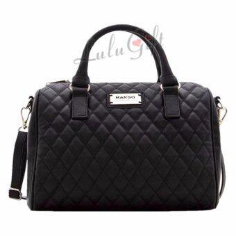 Mango Quilted Bowling Handbag กระเป๋าถือ - Black สีดำ ...