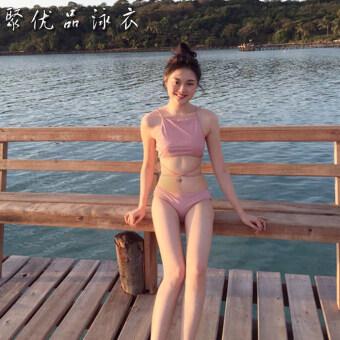 ตอนเย็นตอนเย็นน่ารักหญิงวรรคเดียวกันแยกบิกินี่ชุดว่ายน้ำ (สีชมพู mantillas)