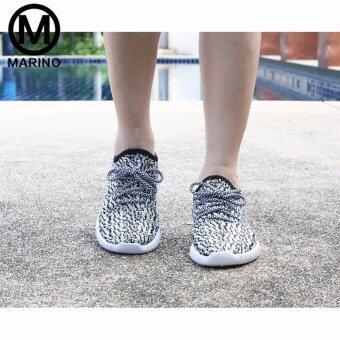 Marino รองเท้า รองเท้าผ้าใบผู้หญิง No.A005 - White Black (image 4)