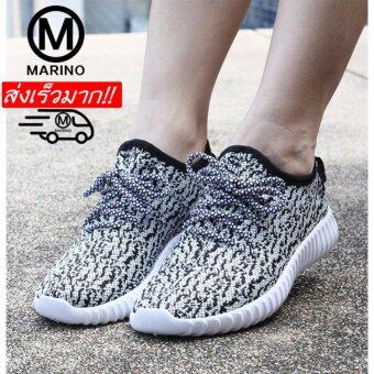 Marino รองเท้ารองเท้าผ้าใบแฟชั่นผู้หญิง No.A005 - White Black