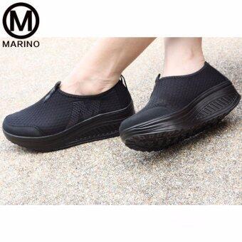 Marino รองเท้าผ้าใบสีดำ รองเท้าเพิ่มความสูงสำหรับผู้หญิง No.A010 - Black (image 3)