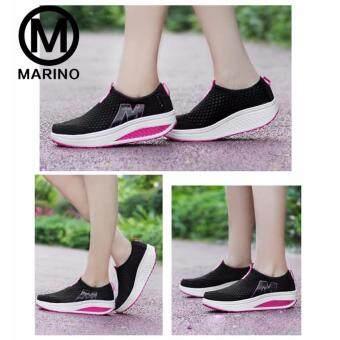 Marino รองเท้าผ้าใบ รองเท้าเพิ่มความสูงสำหรับผู้หญิง No.A010 - BlackPink (image 3)