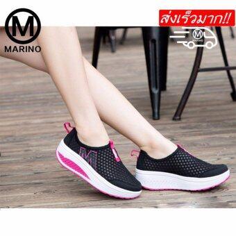 Marino รองเท้าผ้าใบ รองเท้าเพิ่มความสูงสำหรับผู้หญิง No.A010 - BlackPink (image 0)