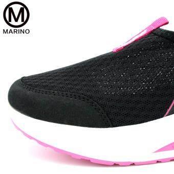 Marino รองเท้าผ้าใบสีดำ รองเท้าเพิ่มความสูงสำหรับผู้หญิง No.A010 - Black/Pink (image 3)