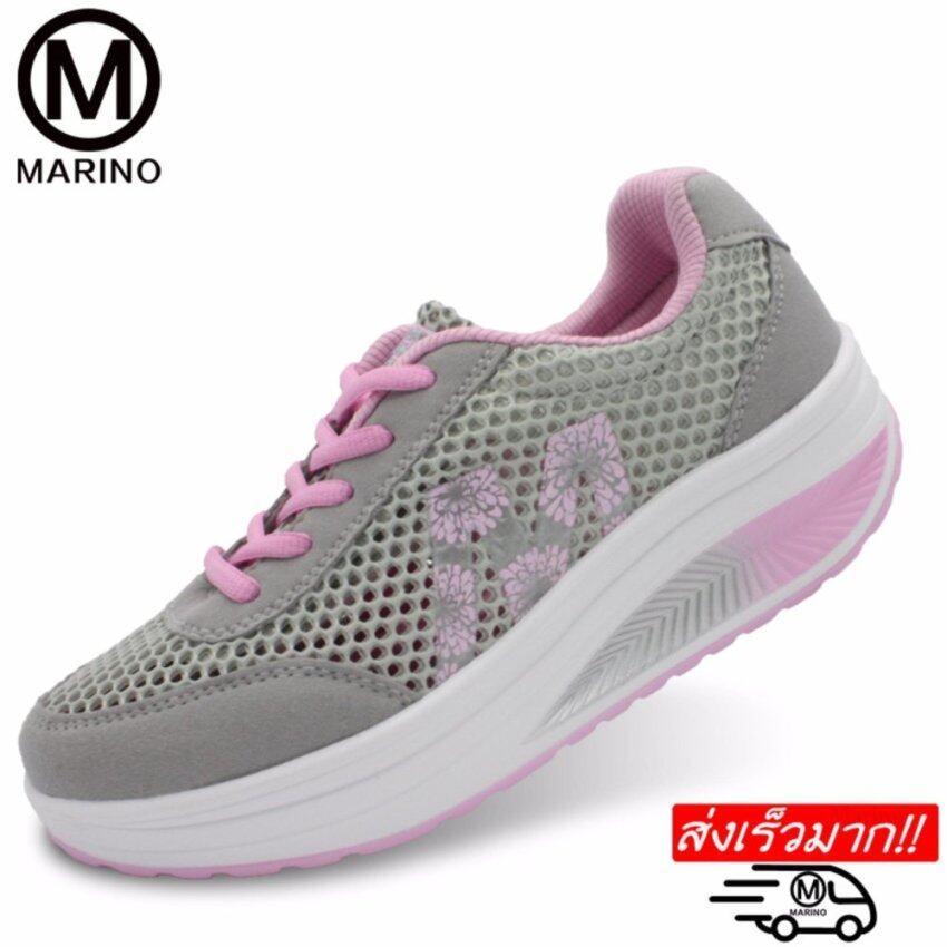 Marino รองเท้าผ้าใบ รองเท้าเพิ่มความสูงสำหรับผู้หญิง No.A013 - Grey / Pink