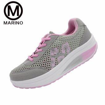 Marino รองเท้าผ้าใบ รองเท้าเพิ่มความสูงสำหรับผู้หญิง No.A013 - Grey/Pink - 2