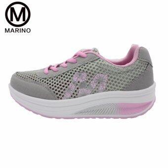 Marino รองเท้าผ้าใบ รองเท้าเพิ่มความสูงสำหรับผู้หญิง No.A013 - Grey/Pink - 3