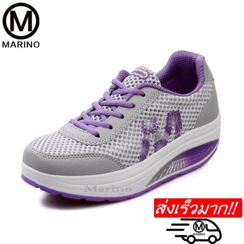 Marino รองเท้าผ้าใบ รองเท้าเพิ่มความสูงสำหรับผู้หญิง No.A013 - Grey/Purple