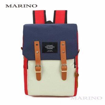 Marino กระเป๋า กระเป๋าเป้ กระเป๋าสะพายหลังสีดำ Woman Backpack No.0224 - White Red