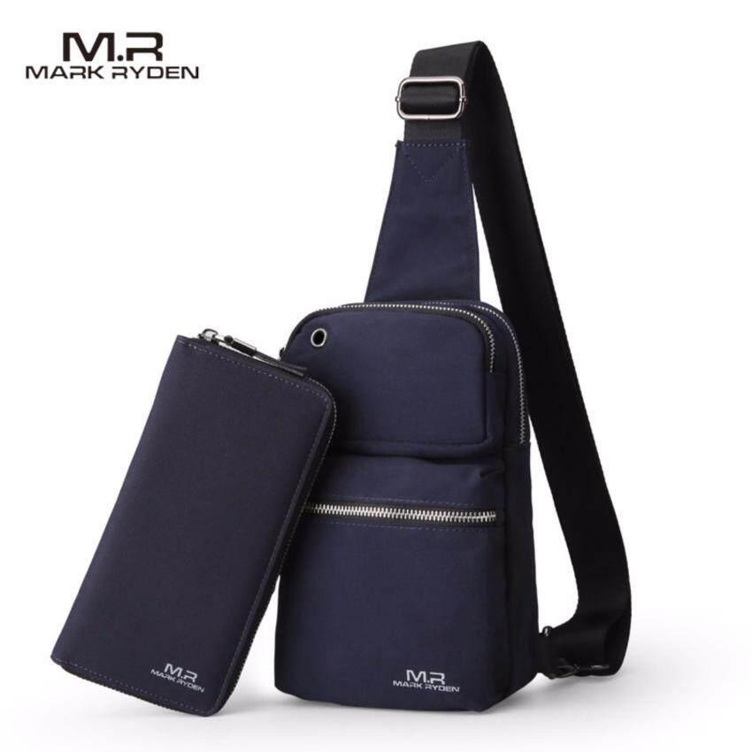 Mark Ryden  MR5400  กระเป๋าสะพาย หน้า/หลัง  คาดอก  มีช่องใส่หูฟัง กันน้ำ  น้ำหนักเบา  แถมกระเป๋าใส่ธนบัตร และ บัตรเครดิตให้ 1 ใบ (สีน้ำเงิน)
