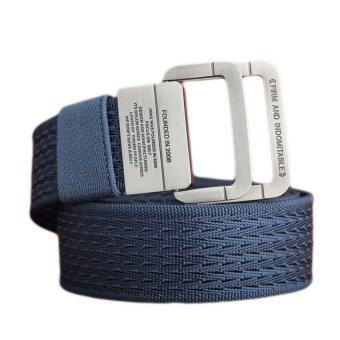 Material Military Tactical Men Belt Double Ring Buckle ThickenCanvas Belts For Men 120CM(Blue) - intl