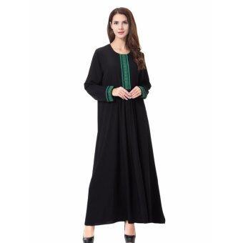 ผู้หญิงชาติพันธุ์สีบริสุทธิ์มุสลิมอิสลามแขนยาวชุด Maxi อาหรับJilbab Abaya ผ้า (สีเขียว)