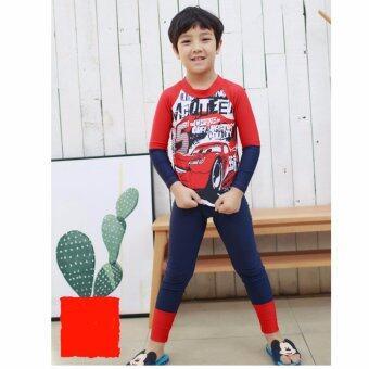 ชุดว่ายน้ำเด็กผู้ชาย MCQUEEN แดง-น้ำเงิน แขนยาว ขายาว # H61
