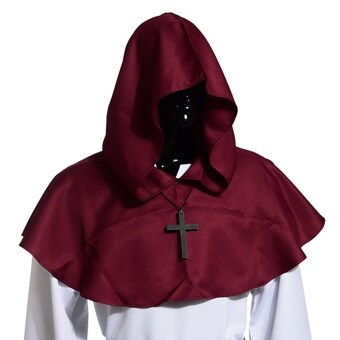 Medieval Hooded Cowl Hood With Cross Necklace Burgundy