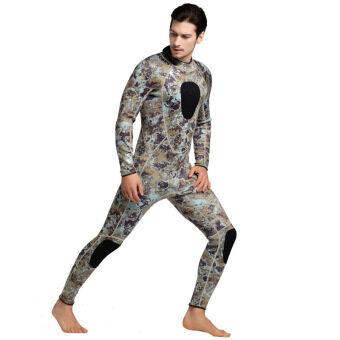 Men 3mm Neoprene Wetsuit Full Body Swimsuit Warm Up Winter Full Suit Swimwear Thicken Scuba Diving Snorkeling Wet Suit – camo grey - intl