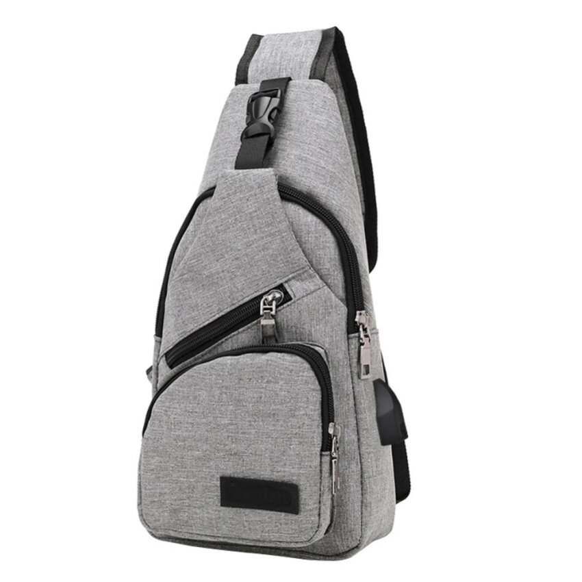 Men Canvas Chest Bag Outdoor Multifunction Crossbody Bag With USB Port(Grey) - intl
