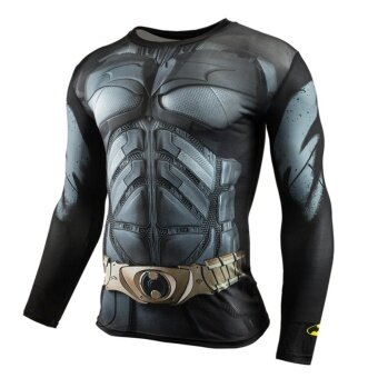 Men Compression Tight T-shirt Long Sleeves Prints Base Layer(Type5) - intl