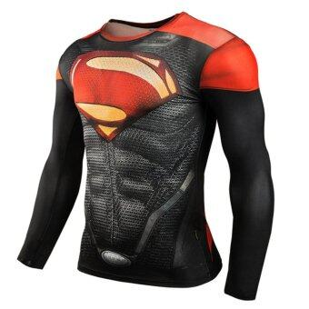 Men Compression Tight T-shirt Long Sleeves Prints Base Layer(Type7) - intl