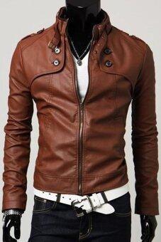 Men Concept เสื้อหนังผู้ชาย รุ่น IN1692 (สีน้ำตาลเข้ม)