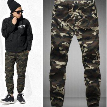 Men Cotton Skinny Joggers Camo Pants (Camouflage#1) - intl