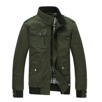 Men Fashion Cotton Jacket Windproof Winter Coat(Army green) - intl