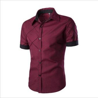 Men Fashion Short Sleeve Slimming Checked Pattern Shirt - intl