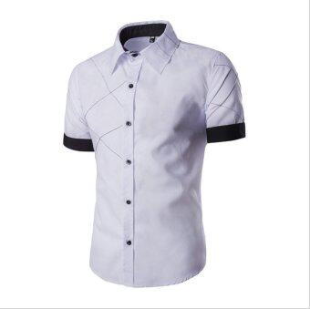 Harga Men Fashion Short Sleeve Slimming Checked Pattern Shirt - intl