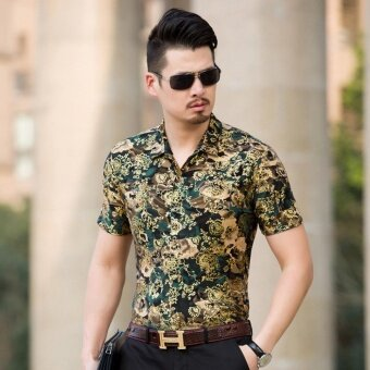 Men Floral Short Sleeve Shirt Casual Thin - intl