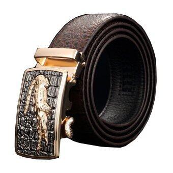 Men Luxury Crocodile Genuine Leather Automatic Belt MBT08912-2Coffee