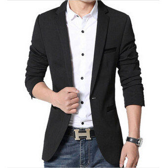 Men slim fit fashion cotton blazer Suit Jacket Black