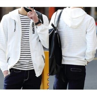 Men Sportwear Letter Print Thin Hoodie Zipper Jacket Hoodie Jacket Boys Hoodies Coat Men's Fashion Blazers  Jackets Camisola Estampada Spring and Summer - intl