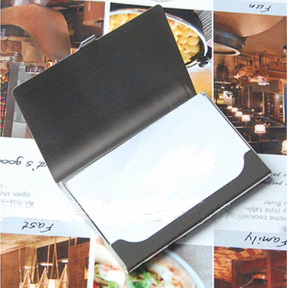 Men Stainless Steel Business ID Credit Card Holder Wallet Metal Pocket Box Case - intl .