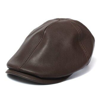 Men's Leather Ivy gentleman Flat Cap Bonnet Newsboy Beret Cabbie Gatsby Golf Hat